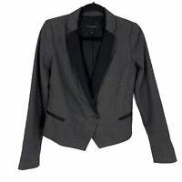 Banana Republic Blazer Jacket Womens Size 0 Gray Black Single Button Lined