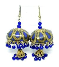 Blue Lapis Gold Tone Indian Jhumka Tribal Wedding Dangle Earrings