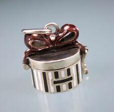 HB Designer Signed 925 Sterling Silver Enameled Gift Box Locket Pendant