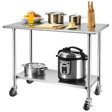 "48""×24"" Stainless Steel Work Table Commercial-Grade Top w/Lockable Wheels Silver"