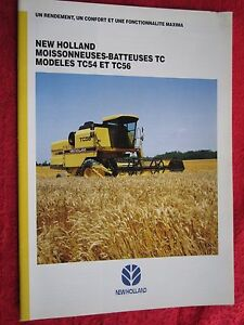 1995 NEW HOLLAND TC54 & TC56 COMBINE 20pg BROCHURE (FRENCH TEXT)