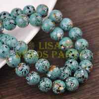 Hot 30pcs 8mm Round Charms Loose Glass Spacer Beads Blue Colorized Dots Findings
