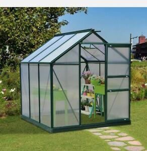 ^ Outdoor Garden 1.9x1.9x2 m Walk-In Mini Greenhouse-Dark Green Frame 26:1