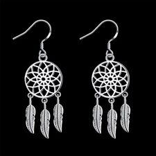 Xmas Gift 925 Silver Hollow Flower Smart Feather Women Drop Earrings GE933