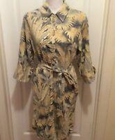 Soft Surroundings Dress M Green Cream Blue Leaf Aloha Hawaiian Shirt Style Tie