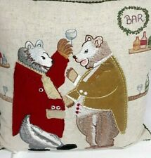 "Throw Pillow Case Anthropomorphic Bears Pub Wine Bar 15"" Applique Embroidered"