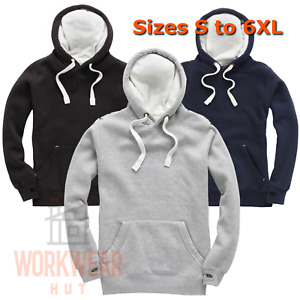 Mens Ultra Premium Hoodies with Thumb Cuffs, Size S to 6XL Black, Grey, Navy