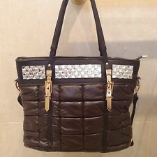Brown Tote Handbag Diamonte Padded Soft Designer Gold European Shopper P.U