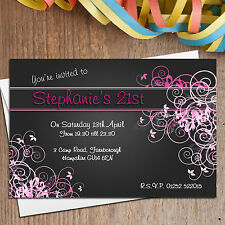 10 Personalised 13th 16th 18th 21st 30th 40th Birthday Party Invitations N128
