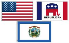 3x5 American & Republican & State of West Virginia Wholesale Set Flag 3'x5'