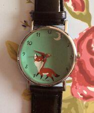 Cinturino nero in finta pelle orologio da polso Donna Fox Donna Natale Animale Carino