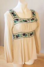 Perfect Condition NNW Peasant Blouse-Embroidered Hippie Top-100% Cotton-With Tag