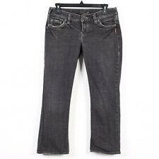 Silver Jeans Womens Sz 29 Gray Santorini Capri Distressed Jeans Mid Rise