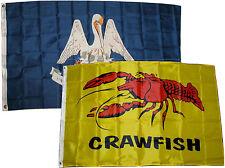 3x5 3'x5' Wholesale Combo Set State Louisiana & Crawfish Seafood 2 Flags Flag