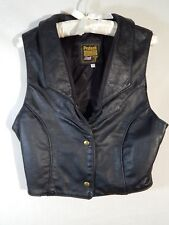 Womens Leather Vest with Stamped Design by Protech Leather Apparel Size 12