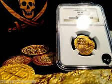 """SPAIN 2 ESCUDOS """"RARELY DATED 1595!"""" NGC 50 GOLD DOUBLOON COB COIN TREASURE"""