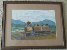 LARGE WATERCOLOR PAINTING OF VINTAGE TRAIN WITH ENGINEER IN WOODED LANDSCAPE