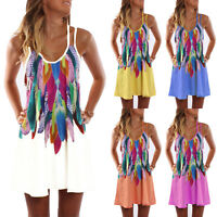 Plus Size Women Summer Strappy Beach Wear Sundress Bikini Cover up Mini Dress