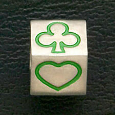 Casino Gambling Poker Charm Beads Fit European Bracelets Stainless Steel Green