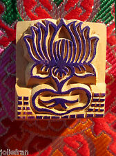 HAND-CARVED SOLID WOOD OM MANI MANTRA RUBBER STAMP ART TIBETAN BUDDHIST NEPAL