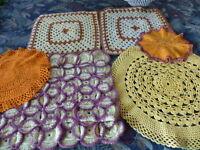 création,lot utilisation,6piéces vintage faites main ,laine et coton a saisir