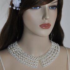 Perlen Collier Kragen Kette Halskette Perlencollier Perlenkragen Perlenkette 40P