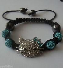 Hello Kitty Shamballa Lake Blue Czech Crystal Bracelet +Free pair of earrings