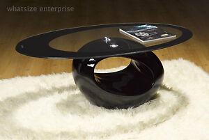 BLACK GLASS OVAL COFFEE TABLE CONTEMPORARY MODERN RETRO