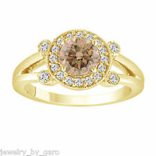 FANCY CHAMPAGNE DIAMOND ENGAGEMENT RING 14K YELLOW GOLD 1.03 CARAT HALO PAVE