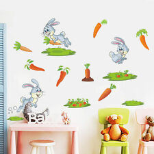 Rabbit Carrot Grass Wall Sticker For Baby Nursery Kids Rooms Home Decor Bunny