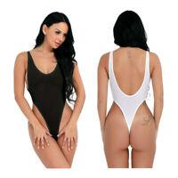 Women's One Piece High Cut Thong Leotard Sleeveless Backless Bodysuit Swimsuit