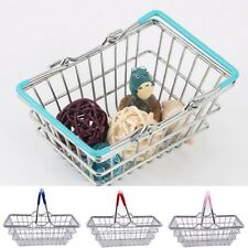 Mini Kids Supermarket Shopping Basket Kid Roll Play Desk Decor Toy Collect Fun