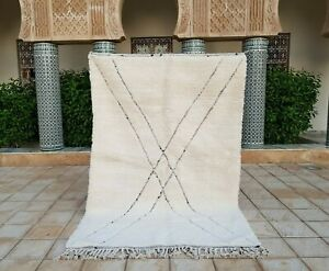 """Beni ourain Rug 8'2""""x5'4"""" Ft Moroccan Rug Handmade Authentic Wool Carpet"""