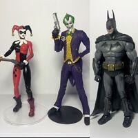 One Of A Kind Custom Batman, Joker, And Harley Quinn Arkham Asylum Figure Lot