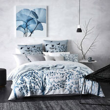 NEW 3PC MERCER + REID KOA BLUE QUEEN BED QUILT COVER SET RRP$199.95 375TC COTTON
