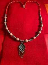 Native American Church Dead Pawn Gourd Zuni Apache Sterling turquoise Necklace