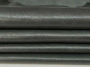 GUNMETAL GREY shiny rough Goatskin Goat leather 2 skins 8sqf 1.0mm #A7399
