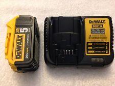 New Dewalt 20V Max XR DCB205 5.0Ah Lithium Ion Battery & DCB112 12V/20V Charger