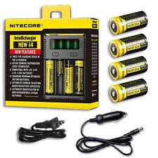 NiteCore IntelliCharger i4 w/4x NL166 RCR123A Batteries +Car & Wall Adaptor
