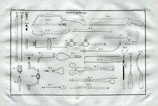 Strumenti Chirurgici. 2. Medicina e Chirurgia. Acquaforte. Stampa Antica. 1835