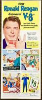 1952 V-8 Vegetable Juice PRINT AD How Ronald Reagan Discovered V-8