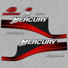 Mercury 40 hp Four Stroke outboard engine decals RED sticker set reproduction