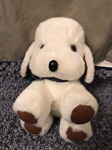 Vintage Gund White Puppy Dog Rattle With Spot Green Ribbon 1983