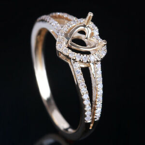 5x4mm Heart Semi Mount 10K Yellow Gold 0.25ct SI/H Diamond Elegant Wedding Ring