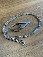 Vintage Sterling Silver Chain With Triangle Pendant, 10.9 Gr