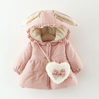 Toddler Kids Baby Girls Ruched Dor Rabbit Ear Thick Warm Coat Outwear + Bag