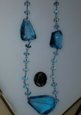 18K WHITE GOLD 350 CARAT  SWISS BLUE TOPAZ NECKLACE 36 INCHES. ONE OF A KIND!