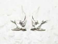Ohrringe SILBERSCHWÄLBLEIN versilbert Ohrhänger Vintage Stil Vogel Vögel handmad