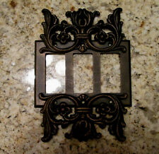 Metal Triple Rocker Switch Plate Cover Old World Hand Made Tuscan Medieval Fleur