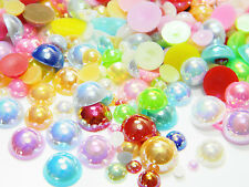 1000 Mix/Mixed Colors Sizes Flatback AB Half Round Faux Pearls 3/4/5/6/8/10mm
